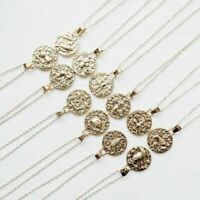 Zodiac 12 Constellation Vintage Gold Stainless Necklace Ancient Round Pendant