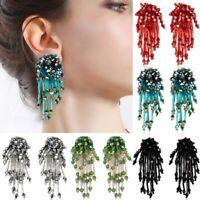 Handmade Fashion Crystal Flower Tassel Earrings Beaded Ear Stud Women Jewelry