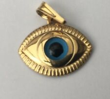 Gold 9ct Gold 'EYE' Style Pendant/Charm Stamped Size 17mm x 12mm Weight 0.64g