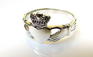 Handmade 925 SOLID Sterling Silver Irish / Celtic Claddagh Love Ring Size L to T