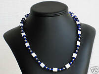 Mother of Pearl & Blue Glass Bead Necklace