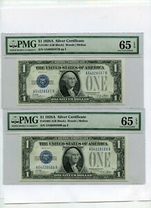 1928 A $1 Silver Certificates Funny Back Two Consecutive Serial Numbers PMG 65