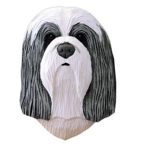 Bearded Collie Head Plaque Figurine Blue/White