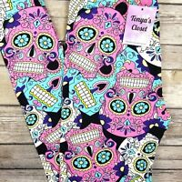 Candy Sugar Skull Leggings Skeletons Print Buttery Soft ONE SIZE OS
