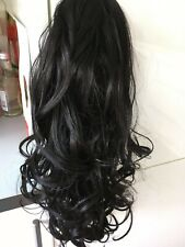 """CLIP IN DRAWSTRING WAVY CURLY 18"""" LONG PONY TAIL HAIR PIECE  ESPRESSO BROWN 2  ."""