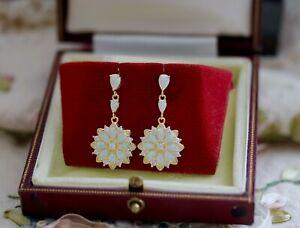 Vintage Jewellery Earrings Opal White Sapphires Antique Art Deco Jewelry