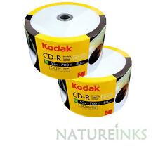 100 Kodak Hub Stampabile Con Inchiostro Bianco CD-R Vergine 52x 700MB 80 minuti