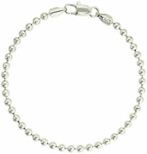 Sterling Silver .925 4mm Bead Ball Chain Bracelet Size 7-8