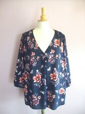 H&M MAMA  MATERNITY Large 16 - 18 Navy Blue + Pink Floral Print 3/4 Sleeved Top