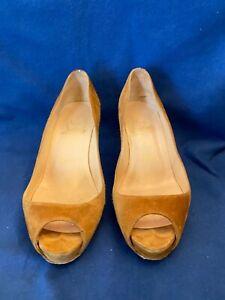 Women's Shoe Christian Louboutin Beep Toe Pump 36/6 Light Brown Suede Heel