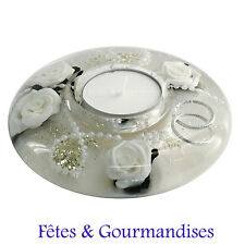 Bougeoir centre de table mariage alliances decoration table cadeau bougie rond