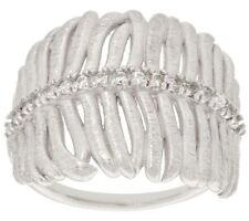 ITALIAN SILVER STERLING SILVER SATIN FINISH CRYSTAL FEATHER RING SIZE 5 QVC $69
