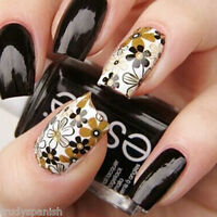 Nail Art Water Decals Stickers Wraps Brown Daisies Flowers Gel Polish (stz007)