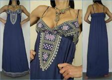 NWT EMBROIDERED long MAXI DRESS 8 10 BLUE FLOWY hippie BOHO beach SUMMER NEW