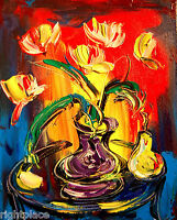 FLOWERS   IMPRESSIONIST LARGE ORIGINAL OIL  PAINTING - POP ART  canvas art NR