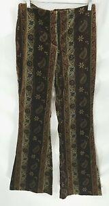 VTG 60s 70s Handmade Brown Paisley Striped  Velvet Bell Pants Sz S/M