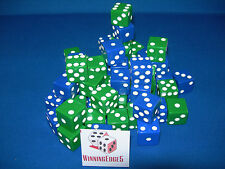 NEW 12 ASSORTED OPAQUE DICE 16mm BLUE AND GREEN, 2 COLORS 6 OF EACH COLOR