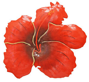 Tropical Red Hibiscus Flower 11 Inch Haitian Metal Wall Art