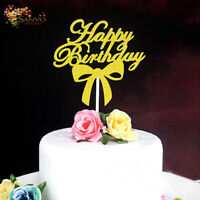 HAPPY BIRTHDAY CAKE TOPPER GOLD GLITTER CAKE TOPPER