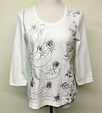 Chicos Zenergy Womens 3/4 Sleeve Shirt Top Sz 1 M 8 White Silver Gray Rhinestone
