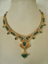 South IndianTraditional Jewellery gold blue  stone design necklace set &earring