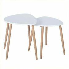 Triangle Side Table End Nested Table Coffee Table Office Bedroom-Set Of 2- White