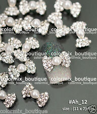 10pcs Nail Art Deco(11 x 7)mm Deluxe Alloy Jewelry Glitter Pearl Bow Knot #Ah_12