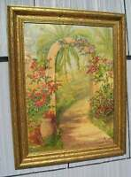 Antique~Jordan~Marsh Art Crafts Gilt Picture Frame CM Cottage Painting 11 x 15