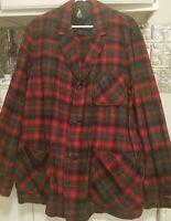 Vintage Pendleton Pure Virgin Wool Red Gray Coat M USA Plaid Blazer Jacket 1970s