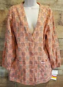 Womens S Cherokee Scrub Jacket NWT Light Peach Patchwork Print