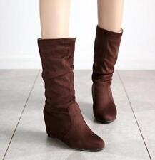 New Womens Hidden Wedge Heels Round Toe Faux Suede Mid Calf Boots Plus Size R144