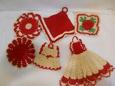 #B 6 Vintage Crochet Crocheted Doilies Red Rosettes Dress Potholder Hot Pads