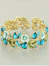 Blue Floral Flower Gold Tone Cuff Bangle Wrap Bracelet Women Fashion Jewelry