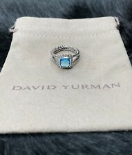 David Yurman Petite Albion Ring with Blue Topaz and Diamonds, Size 6