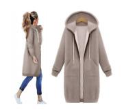 Jacke Damen Winter Mantel Sweatshirt Kapuze Sweatjacke Tunika Oversize Lang Warm