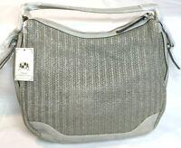 """Urban Expressions Oasis Vegan 20"""" Leather Shoulder Strap Handbag Color Grey"""