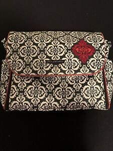 Petunia Pickle Bottom Diaper Bag Frolicking in Fez Damask Messenger Boxy Black