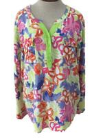 Westbound blouse top size XL rayon pink green floral long sleeve 2 pockets