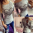 Autumn Women Long Sleeve Knitted Sweater Beading Heart Pullovers Jumper OutwearG