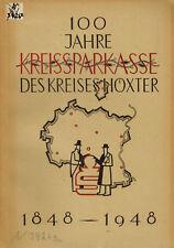 Kreissparkasse Kreis Höxter Sitz Brakel 100 Jahre 1848 - 1948, Denkschrift 1948