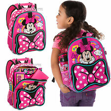 Minnie Mouse Backpack Book Bag Tote Pink Polka Dot Disney Store 2016 JUNIOR SIZE