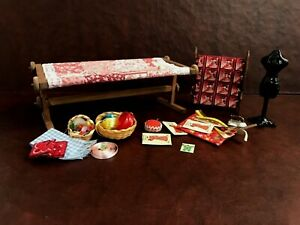 Dollhouse Miniature Vintage Sewing Room Items Many Handcrafted  1:12