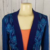 Coldwater Creek Womens Size M 10-12 Floral Long Sleeve Open Front Cardigan Blue