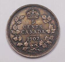 1907 Five Cents Silver CHOICE AU Beautiful HIGH Grade King Edward VII Canada 5¢