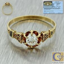 1880s Antique Victorian 14k Solid Yellow Gold .42ct Diamond 7mm Band Ring EGL