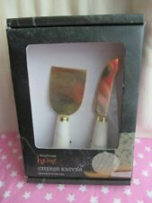 Waitrose Home Cheese Set with Marble Handles & Gold Metal - Unused - Boxed