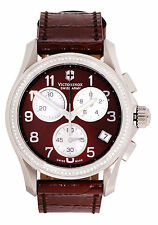 Victorinox Swiss Army Brown Dial SS Leather Chronograph Women's Watch 241420
