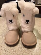NWT Baby Gap Girl Toddler Cozy Bear Booties Boots Shoes Ivory Cream Size 6