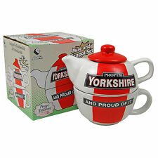 PROPER YORKSHIRE TEAPOT FOR ONE -  Novelty Tea Pot Cup Set - HOME OFFICE KITCHEN