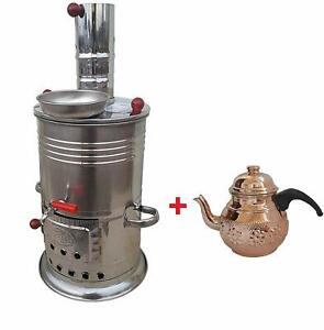 Turkish Tea Maker Samovar 3.5 L Hiking Hunting BBQ Semavor+Copper Teapot